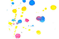 Abstract red yellow blue ink splash Royalty Free Stock Image