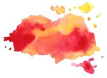 Abstract red colorful vector watercolor stain. Grunge element for paper design. Abstract red yellow colorful vector watercolor stain. Grunge element for paper stock illustration