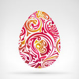 Abstract Red Yellow Easter Egg Graphics Designed As A Floral Motif Royalty Free Stock Images