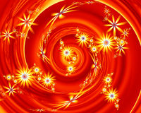 Abstract Red Yellow Fractal Flowers Royalty Free Stock Image