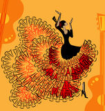 Abstract red-yellow music of flamenco Royalty Free Stock Photography