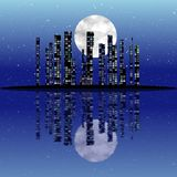 Abstract reflection night city with moon. Abstract night city with moon Stock Image