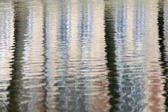 Abstract reflection of trees in water. Indistinct abstract reflection of trees on a surface of the water with ripples for the textured backgrounds Royalty Free Stock Image