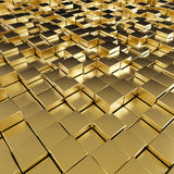 Abstract reflective gold cubes modern background. Royalty Free Stock Photography