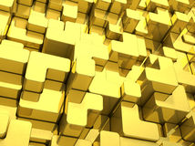 Abstract reflective gold rounded bars background. 3D rendering. Royalty Free Stock Photo