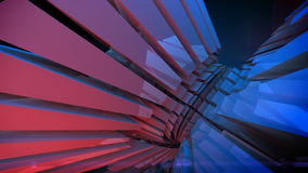 Abstract reflective shiny plastic shape 3d rendering. Abstract reflective shiny plastic three-dimensional shape. Illuminated red and blue light 3d rendering Royalty Free Stock Image