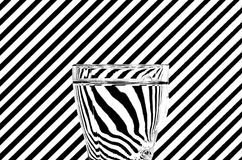Abstract refraction of black and white diagonals in a glass of w Stock Images