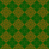 Regular checked seamless pattern with flower. Abstract  regular pattern with flower. Seamless background green and gold Royalty Free Stock Image