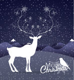 Abstract Reindeer at night Christmas background Royalty Free Stock Image