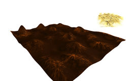 Abstract relief surface 3D. Abstract embossed textured brown surface, with bulges and depressions, hills and lowlands, the second embodiment is covered with Royalty Free Illustration
