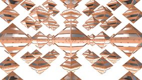 Rendering of many polygons of gold, 3d illustration. Abstract rendering of many gold polygons floating in the void in a white bacground Royalty Free Stock Image