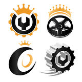 abstract repair service details logo set, car wheels elements, mechanical tools vector illustrations collection Stock Images
