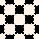 Abstract repeat monochrome background. Black and white design element. Vector geometric staggered texture, modern minimalist seamless pattern with rounded shapes stock illustration
