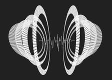 Abstract repeated monochrome circles in perspective. Abstract repeated monochrome circles in perspective with waveform. Futuristic equalizer in space. Minimal Stock Photos