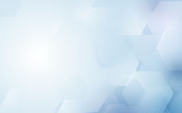 Abstract repeating hexagonal shape on blue and white background. Space for your text Stock Photos