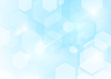Abstract repeating hexagonal shape on blue and white background. Space for your text Stock Illustration