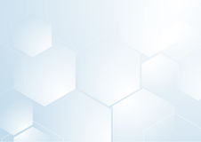 Abstract repeating hexagonal shape on blue and white background. Space for your text Royalty Free Illustration