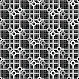 Grey colors futuristic geometric repeating pattern. Abstract repeating interacting pattern in grey scale, circles and squares interacting contemporary futuristic Royalty Free Stock Image