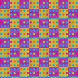 Abstract repeating pattern of multi-colored lines, squares and c. Ircles.Vector Royalty Free Stock Images