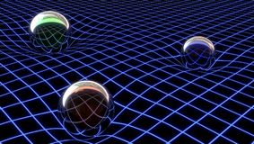 Gravity representation in an abstract space, 3d illustration stock illustration