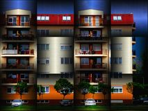 Abstract of Residential Building in Vasarely Style. Abstract of Residential Building with balconies in `Vasarely Style` with strong colors, shapes and squares Royalty Free Stock Images