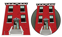 Abstract residential house. Illustration in retro style. Stock Photo