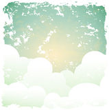 Abstract retro background with blue sky and clouds Royalty Free Stock Photo