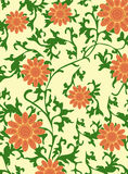 Abstract retro background. Vector illustration of abstract retro background with orange flowers Stock Photography