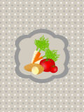 Abstract retro background with vegetables. Vector illustration of abstract retro background with vegetables Royalty Free Stock Photos