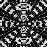 Abstract retro black and white pattern of mosaic cubes and spirals converging to one point. Abstract background of mosaic tiles stock illustration