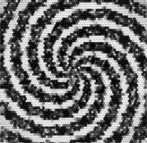 Abstract retro black and white swirling pattern of mosaic cubes and spirals Stock Image