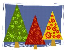 Abstract Retro Christmas Tree Card. A clip art illustration featuring 3 abstract retro looking Christmas trees made of basic triangle shapes decorated with Stock Photo