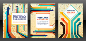 Abstract retro cover design with arrows elements. Royalty Free Stock Photography
