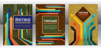 Abstract retro dekkingsontwerp met pijlenelementen Stock Afbeelding
