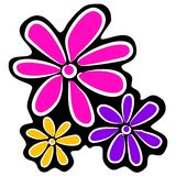 Abstract Retro Flowers Clipart. A simple clip art illustration of dramatic colored flowers - pink, purple and yellow on a black fitted background Royalty Free Stock Photos