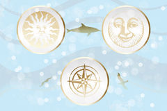 Abstract retro illustration with sun, moon and win. D rose on ocean background - eps 10 vector royalty free illustration