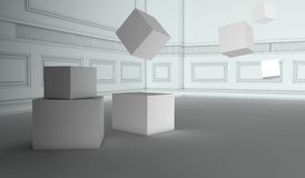 Abstract retro interior with flying cubes. 3d render Stock Illustration