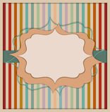 Abstract Retro Invitation Card. With Colorful Background Made Of Stripes royalty free illustration