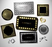 Abstract retro label and stiker with stud and Stock Image