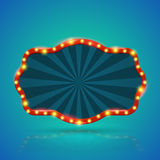 Abstract retro light banner with light bulbs on the contour. Royalty Free Stock Image