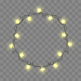 Abstract retro light frame. Realistic color garlands, festive decorations. Glowing lights isolated on transparent. Checkered. Vector illustration Royalty Free Stock Photos