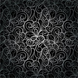 Abstract retro luxury seamless swirl background pattern in vector. Silver lace endless texture. Royalty Free Stock Image