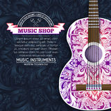 Abstract retro music guitar on blue floral background of the ornament concept. Art decorative, Islam, arabic, indian Stock Images