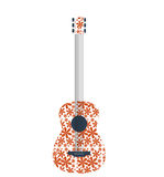 Abstract retro music guitar with flower pattern Royalty Free Stock Photos