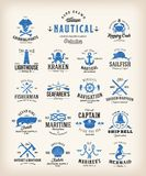 Abstract Retro Nautical Labels Collection. Vintage Sea Emblems, Signs Or Logo Templates. Whales, Anchors, Octopus Stock Photography