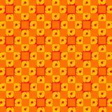 Abstract Retro Orange Dots Tiles Wallpaper. Abstract Retro Pattern - Orange Tiles - Texture - Wallpaper Background stock illustration