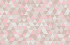 Abstract retro pattern of geometric shapes. Pink and beige mosaic backdrop. Geometric hipster triangular background, royalty free illustration
