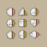 Abstract retro pop art geometrical stripe icons set with dotted shadow Stock Photos