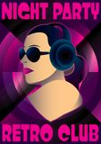 Abstract retro poster with a girl DJ Royalty Free Stock Photos