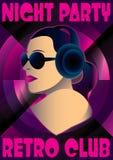 Abstract retro poster with a girl DJ. Vector abstract retro poster with a girl DJ Royalty Free Stock Photos